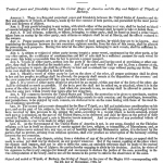 """Treaty of Tripoli as communicated to Congress 1797"" by Joel Barlow - http://memory.loc.gov/cgi-bin/ampage?collId=llsp&fileName=002/llsp002.db&recNum=23 and http://memory.loc.gov/cgi-bin/ampage?collId=llsp&fileName=002/llsp002.db&recNum=24. Licensed under Public domain via Wikimedia Commons - http://commons.wikimedia.org/wiki/File:Treaty_of_Tripoli_as_communicated_to_Congress_1797.png#mediaviewer/File:Treaty_of_Tripoli_as_communicated_to_Congress_1797.png"